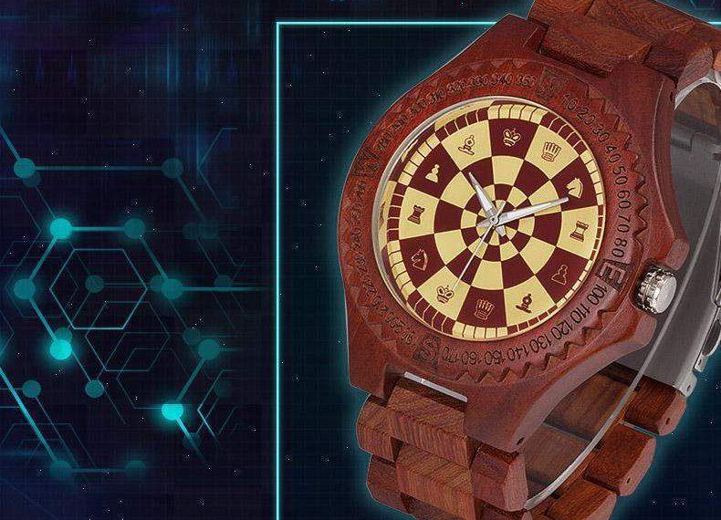 đồng hồ đeo tay, đồng hồ cờ vua, đồng hồ gỗ, quà tặng cờ vua